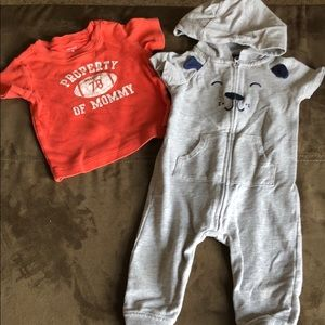 Carter's T-shirt and one piece outfit with good